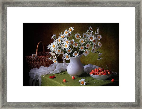 With Camomiles And Merry Framed Print by ??????? ????????