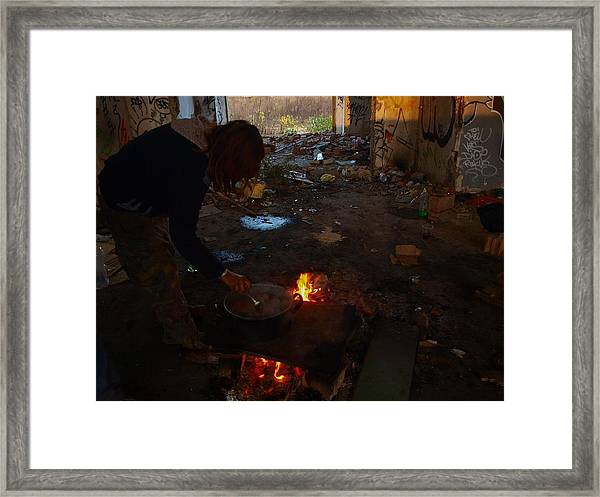 With The Dark Illusion Of The Future Framed Print