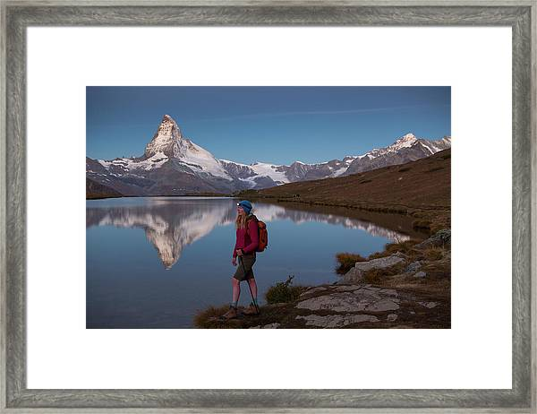 With The Matterhorn In The Background Framed Print
