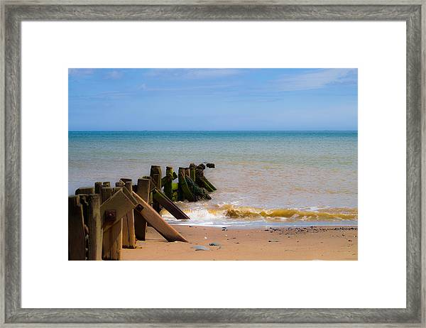 Framed Print featuring the photograph Withernsea Groynes by Scott Lyons