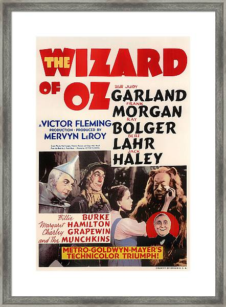Wizard Of Oz Vintage Movie Poster Framed Print