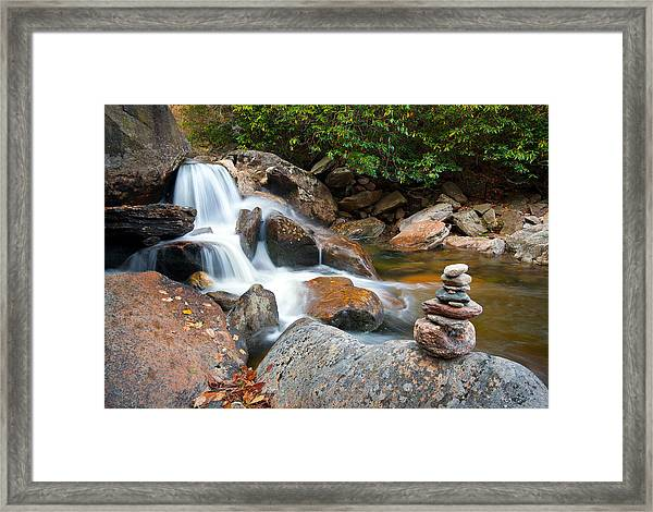 Wnc Flowing Zen Waterfalls Landscape - Harmony Waterfall Framed Print