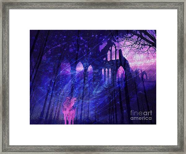 Wolf And Magic Framed Print