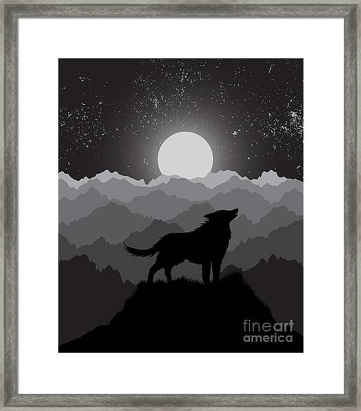 Wolf Howling At The Night Moon Standing Framed Print