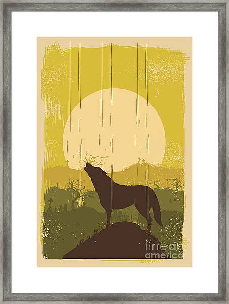 Wolf Howling Background, Vector Framed Print