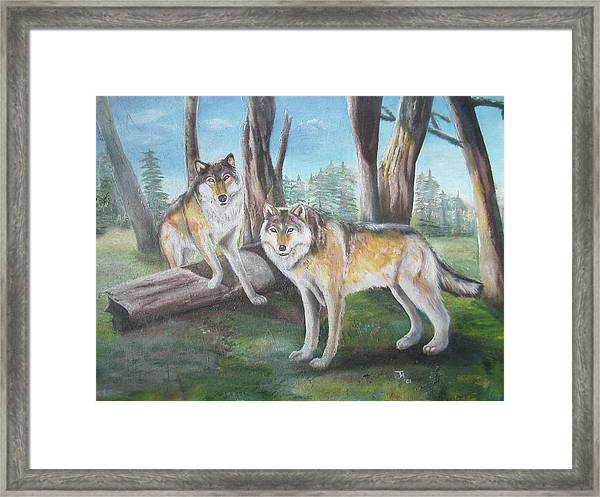 Wolves In The Forest Framed Print