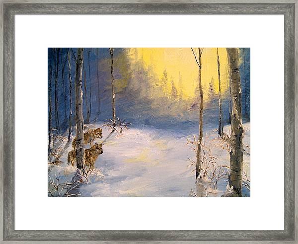 Wolves In Winter Framed Print