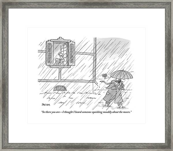 Woman Addresses A Man From The Window Of A House Framed Print