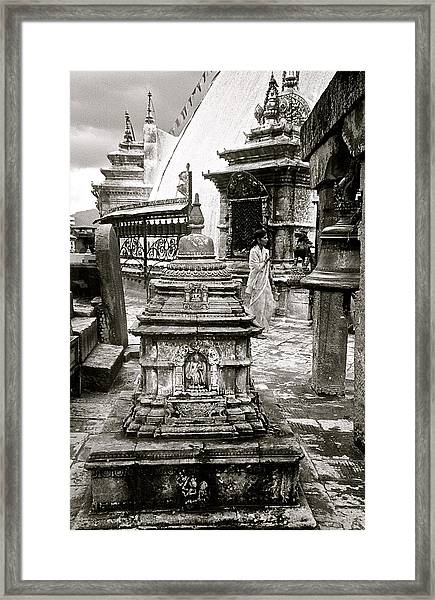 Woman At Swayambhu Framed Print