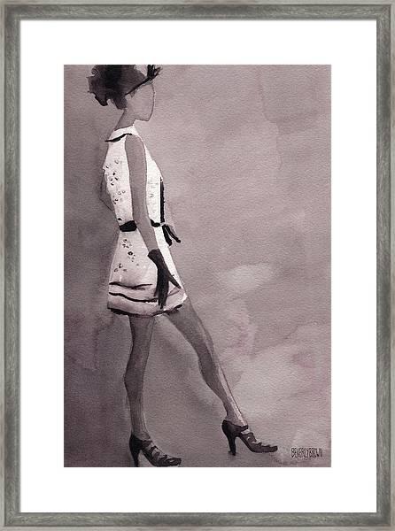 Woman In A Black And White Mini Dress Fashion Illustration Art Print Framed Print
