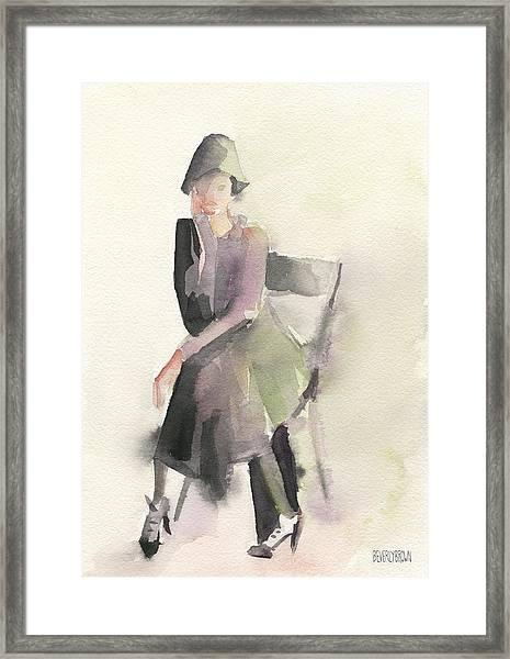 Woman In A Cloche Hat Watercolor Fashion Illustration Art Print Framed Print