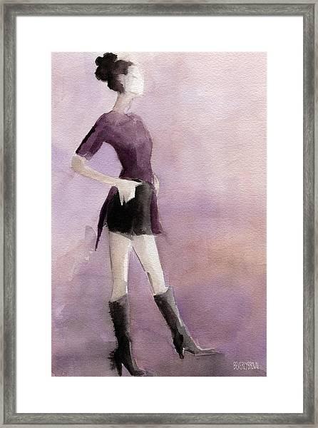 Woman In A Plum Colored Shirt Fashion Illustration Art Print Framed Print
