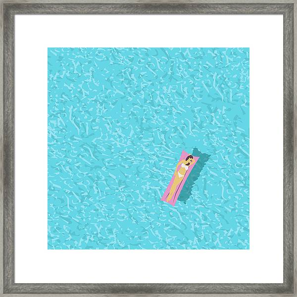 Woman In Bikini, Swimming Pool Top Framed Print by Jozefmicic
