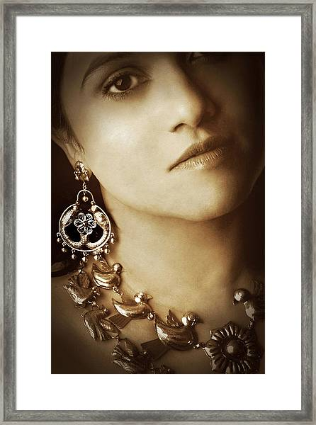Woman In Mexican Silver Jewelry Framed Print