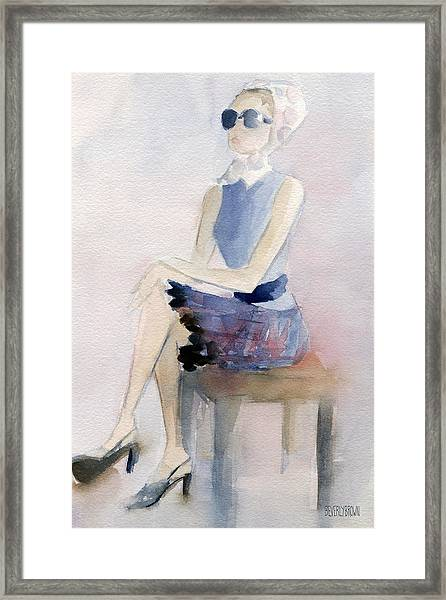 Woman In Plaid Skirt And Big Sunglasses Fashion Illustration Art Print Framed Print