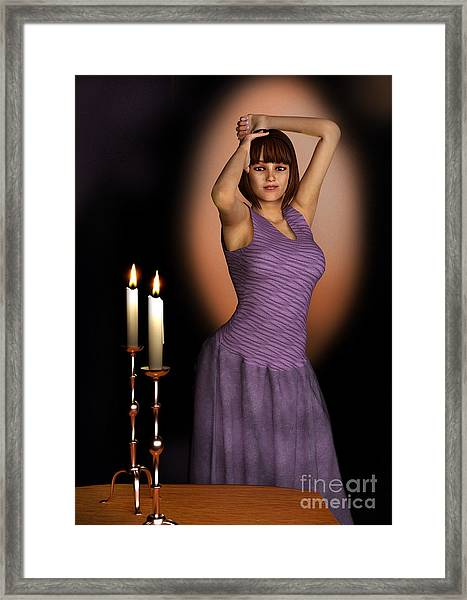 Woman In Purple Gown With Candles Framed Print