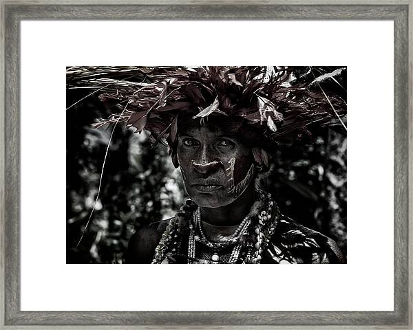 Woman In The Sing-sing Festival Of Mt Hagen - Papua New Guinea Framed Print
