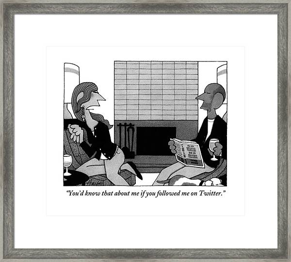Woman On Couch Says To Man Who Is Reading Framed Print