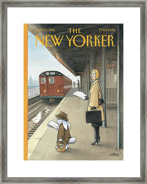 Woman On Train Platform Looking At Easter Bunny Framed Print