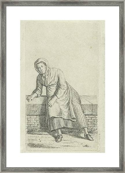 Woman Sitting On A Wall, Anthonie Willem Hendrik Nolthenius Framed Print by Quint Lox