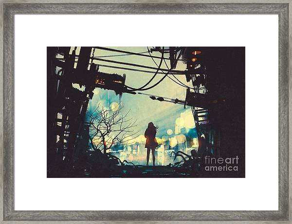 Woman Standing Among Old Ruins Looking Framed Print