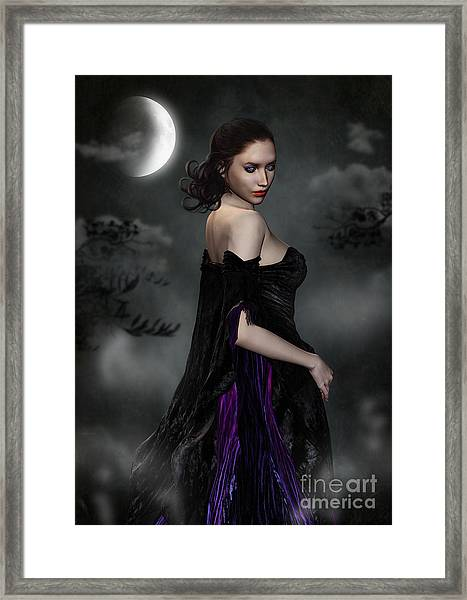 Woman Standing In Night Mist And Fog Framed Print