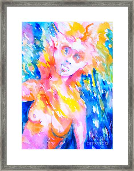 Woman Under Duress Framed Print