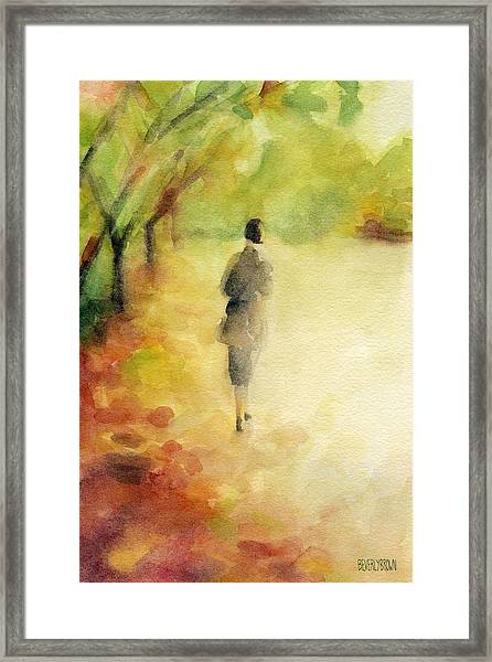 Woman Walking Autumn Landscape Watercolor Painting Framed Print