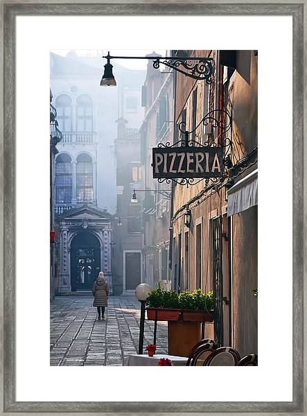 Woman Walking On Beautiful Street In Framed Print