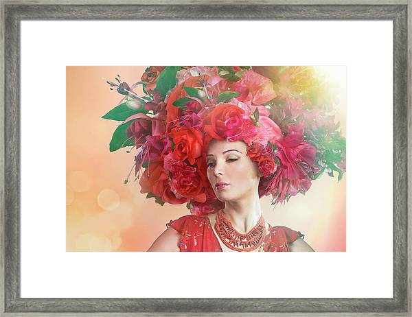 Woman Wearing A Big Red Hat Made Of Framed Print by Paper Boat Creative