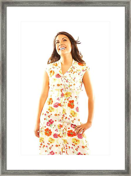 Woman Wearing Sundress Framed Print by GSPictures