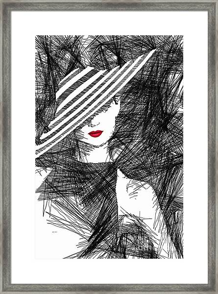 Woman With A Hat Framed Print
