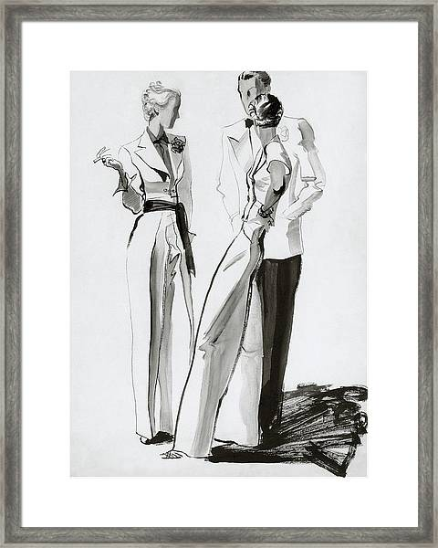 Women And A Man In Suits Framed Print by Rene Bouet-Willaumez
