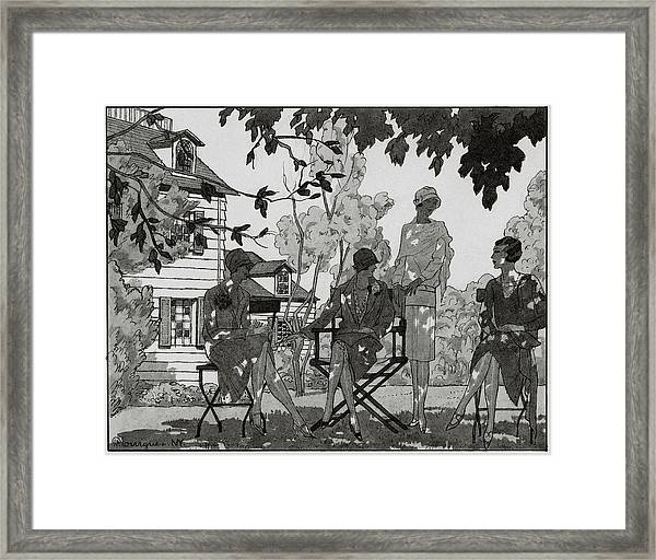 Women At The Woman's National Golf Club On Long Framed Print by Pierre Mourgue