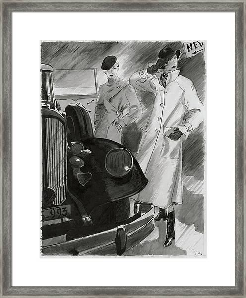 Women By A Car Framed Print