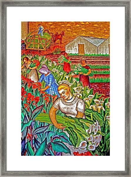 Women Gathering Flowers Framed Print