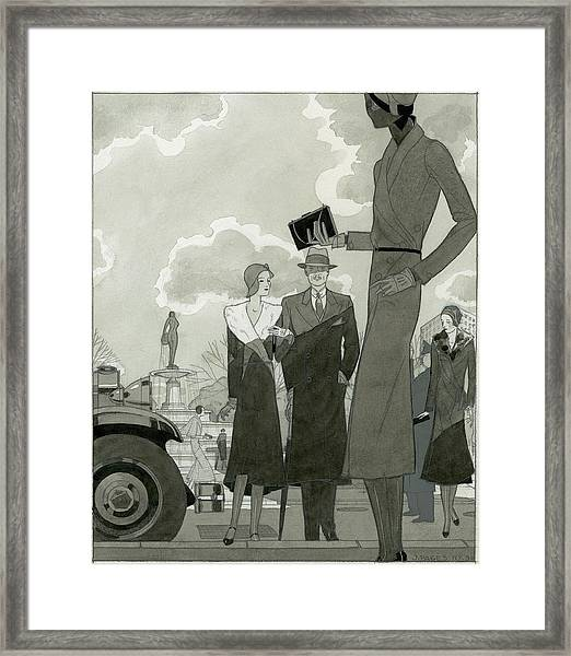 Women In A Park Wearing Paquin Framed Print by Jean Pages