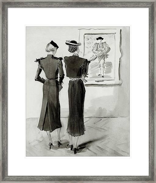 Women Looking At A Toreador Framed Print