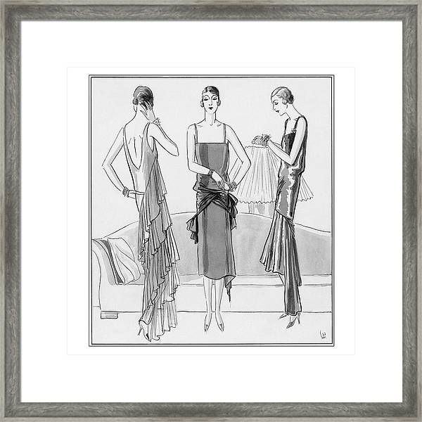 Women Model Evening Dresses Framed Print