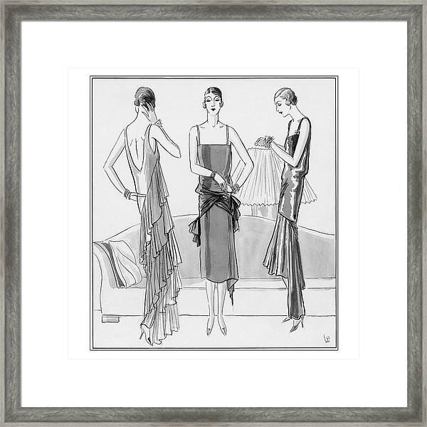 Women Model Evening Dresses Framed Print by Porter Woodruff