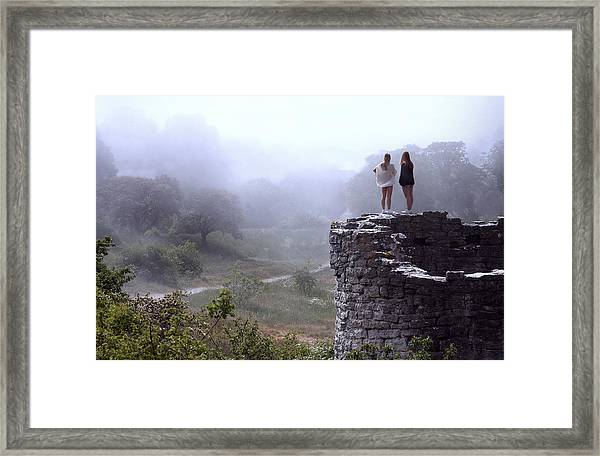 Women Overlooking Bright Foggy Valley Framed Print