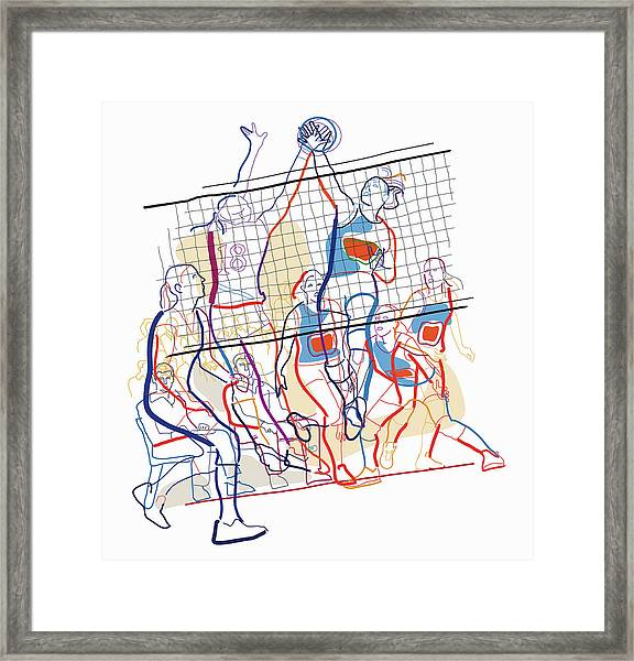 Women Playing Volleyball Framed Print
