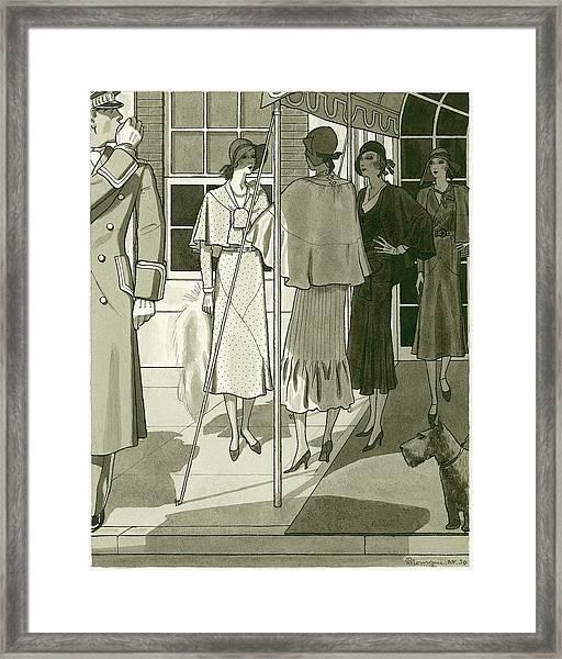 Women Under A Canopy Framed Print