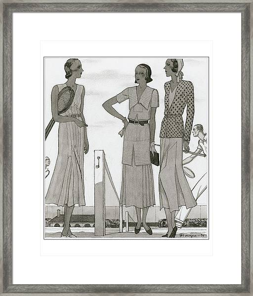 Women Wearing Designer Dresses Framed Print by Pierre Mourgue