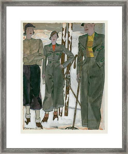 Women Wearing Mainbocher And Knize Framed Print