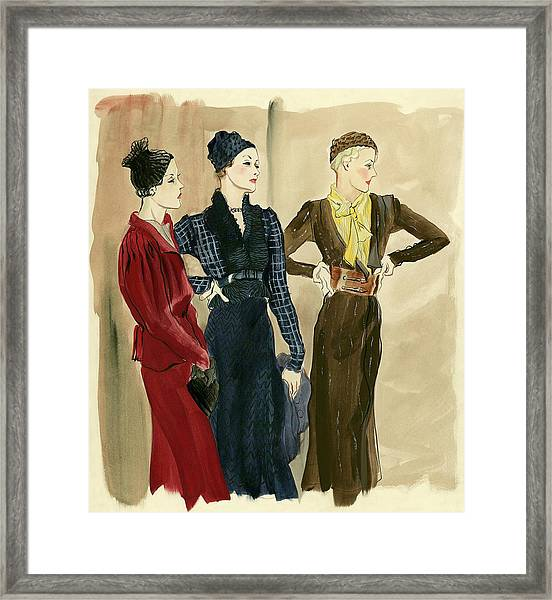 Women Wearing Schiaparelli Framed Print by Rene Bouet-Willaumez