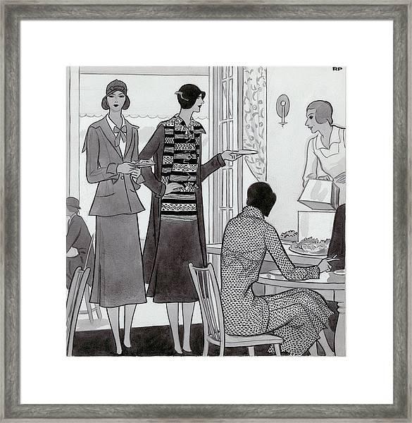 Women Wearing Semi-sport Ensembles By Chanel Framed Print