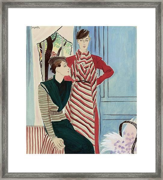 Women Wearing Stripes Framed Print