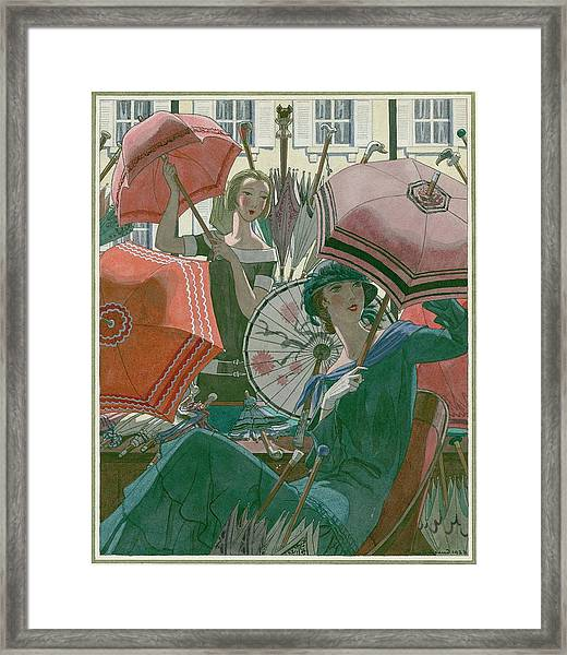 Women With Parasols Framed Print by Pierre Brissaud
