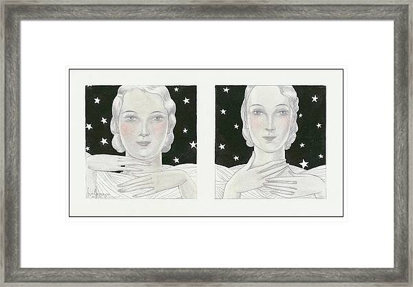 Women With Stars Framed Print